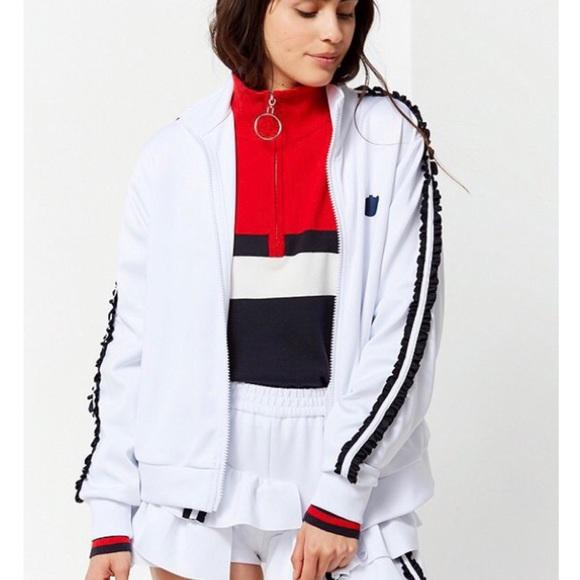 6dc8bd6f027 Nicopanda Jackets & Coats | Uo Frilly Track Jacket Small White Nwt ...